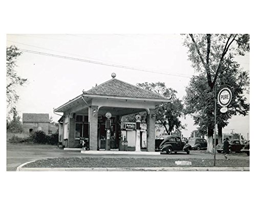 1941 Pure Oil Gas Station Photo Poster Statesville NC Gas Globe from AutoLit