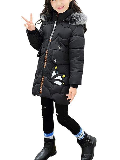 aae86cf7ee401 Enfant Fille Doudoune Mi Longue Manteau à Capuche Fourrure Epaisse Chaud  Veste d hiver