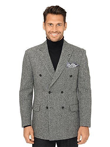 Paul Fredrick Men's Harris Tweed Herringbone Coat Black/White 44 Regular