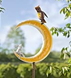 Outdoor Metal Owl and Bunny on Moon Garden Stake Decorative Animal Sculpture Lawn Flowerbed Planter Yard Art Decor 17.25 L x 11 W x 81 H