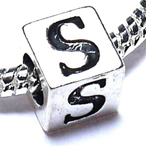 Buddy Charm Plaqué Argent lettre initiale S Alphabet bijoux pour Bracelets type Pandora/Troll