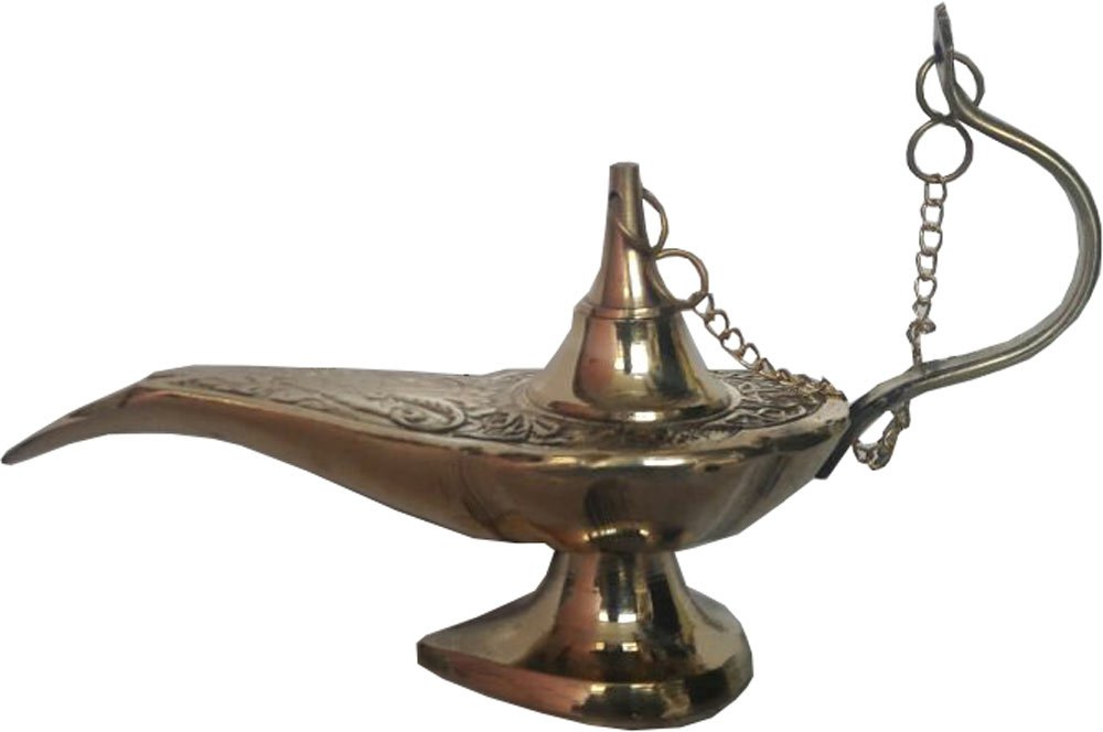 KVR Hand Crafted Lucky Charm Brass Alladin Genie chirag lamp Collectible Art Home decoartion, give Away & Return Gift (4 inch Length)