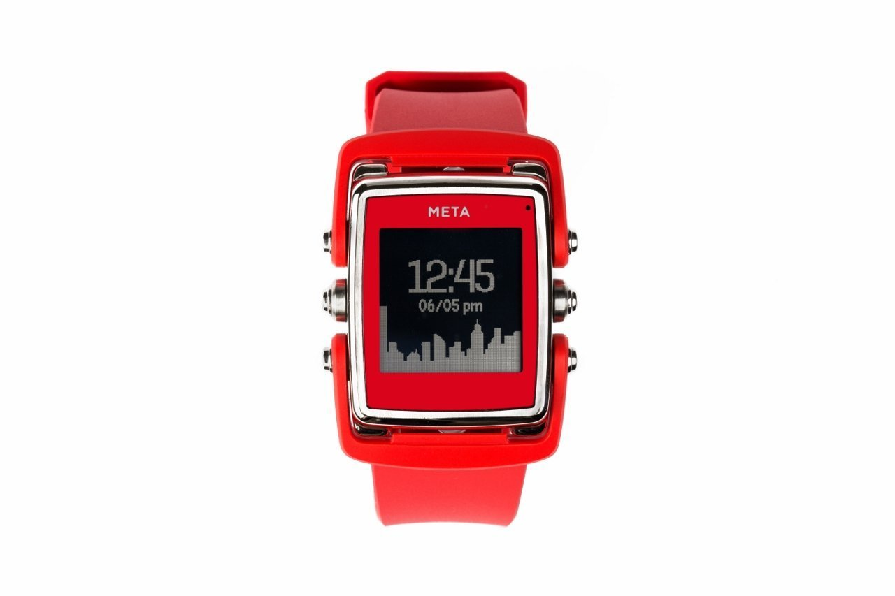 Meta Watch M1 Luxury Smart Watch for iPhone 4S and Above and Andriod 4.3 and Above Stainless Steel Face Red Natural Rubber Strap - SS Face Red Natural Rubber Strap