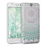 kwmobile Funda para HTC One A9 - Case para móvil en TPU silicona - Cover trasero Diseño sol indio en menta blanco transparente