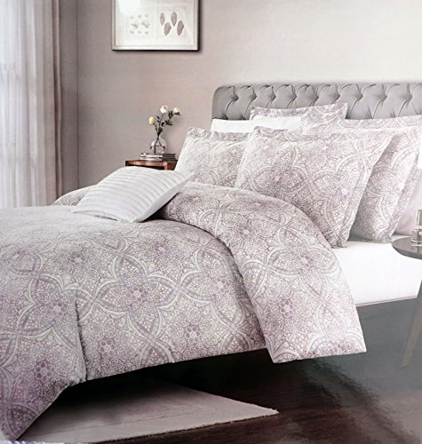 Royal Heritage Home Bedding 3 Piece King Duvet Cover Set Intricate Classical Medallion Pattern in Shades of Gray Pink Brown Tan -- ()
