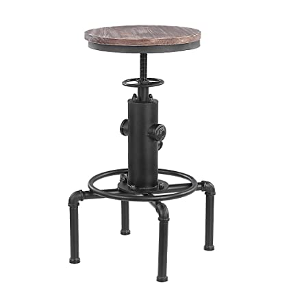 Popular Brand Ikayaa Industrial Style Bar Stool Height Adjustable Swivel Bar Stool Natural Pinewood Bar Stools Chair Kitchen Dining Chair Durable Modeling Furniture