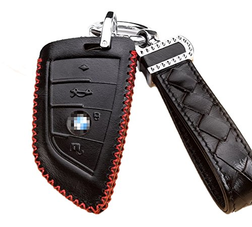 Genuine Leather Cover for 4-Button Car Remote Smartkey Key Protection Skin Etui Key Fob Case Cover with Diamond Braided Wrist Strap & Keychain for BMW Keyless Entry F15 X5 BMW F16 X6 X-Series in Black