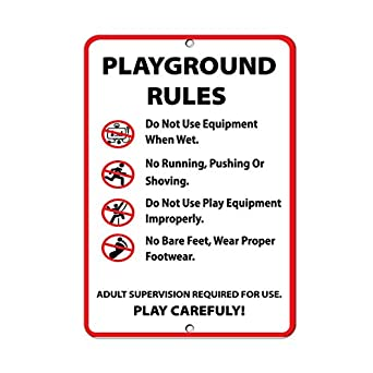 playground rules activity sign park signs park rules signs aluminum