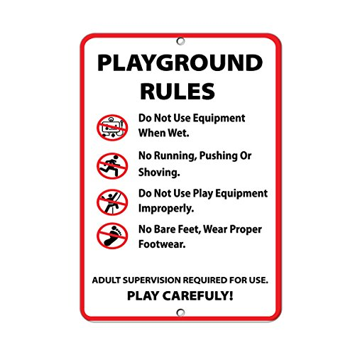 Playground Rules Activity Sign Park Signs Park Rules Signs Aluminum METAL Sign 9 in x 12 (Playground Safety Signs)