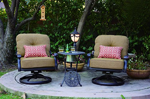 Darlee Elisabeth 3-Piece Club Rocker Chair Set with Seat and Back Cushions and 21-Inch End Table with Ice Bucket Insert, Antique Bronze