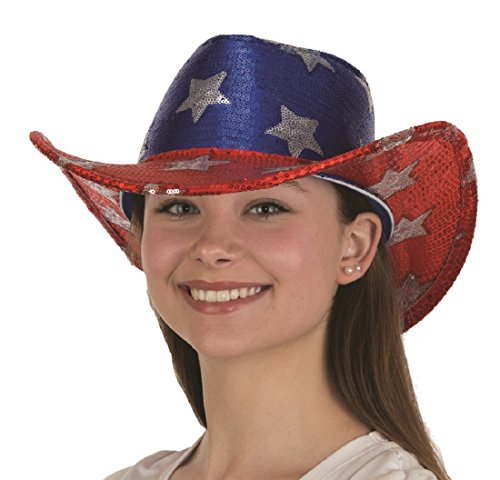 USA American Flag Cowboy Hat Sequin Red White Blue Patriotic 4th of July Costume ()