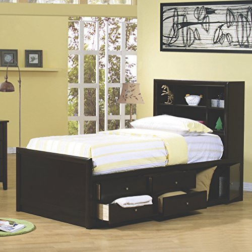- Coaster Home Furnishings Phoenix Twin Bookcase Bed with Underbed Storage Cappuccino