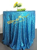 ShinyBeauty Glitter Turquoise 90Inch Round Sequin Tablecloth, Sequin Table Cloth, Sequin Table Overlay,Sequin Table Cover, Sequin Table Linen for Wedding Party Event