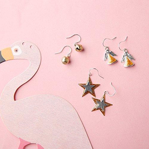 usongs Three o'clock do simple Christmas silver hypoallergenic earrings star earrings cute girl angel (Angel Girl Bell)