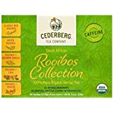 Rooibos Tea Collection 100 Count - USDA Organic Herbal Tea Sampler - Naturally Caffeine Free - Includes Red, Green, Vanilla, Chai and Ginger Rooibos - Cederberg Tea Company