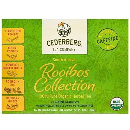 Rooibos Tea Collection 100 Count - USDA Organic Herbal Tea Sampler - Naturally Caffeine Free - Includes Red, Green, Vanilla, Chai and Ginger Rooibos - Cederberg Tea - Rooibos Antioxidant