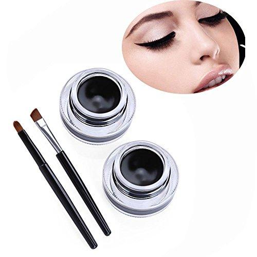 [Professional Waterproof Eyeliner Gel Makeup Sets 2 in 1 Black Gel Eyeliner Makeup Fashion Black Beauty Cosmetic Brand] (Kit Kat Halloween Costumes)