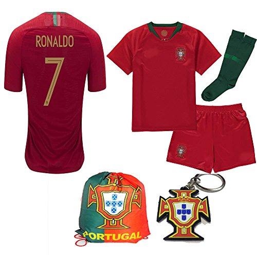 Jersey Portugal Replica - Portugal World Cup 2018 18 Kid Youth Replica C. Ronaldo Jersey Kit : Shirt, Short, Socks, Bag, PVC Key (C. Ronaldo, Size K24 (7-8 Yrs Old Approx.))