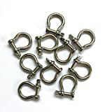 Stainless Steel Bow Shackle, 4mm, Silver Color,for Paracord Jewelry, Marine Tackle-10 Pieces ,generic