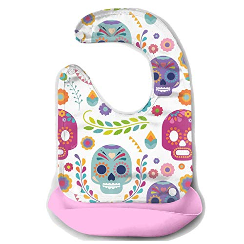 ib Easily Wipes Clean Water Ressistant Baby Mouth Towel Baby Bibs for Boys Girls Keep Stains Off Baby Feeding Accessorry - Sugar Skull Versatile ()