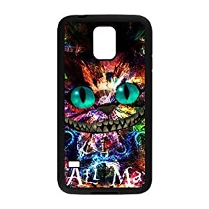 Custom Cheshire Cat Design PC and TPU Phone Case Cover Laser Technology for SamSung Galaxy S5 I9600