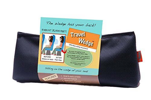 Unique Small Orthopedic Travel Wedge Cushion - Lumbar Support, Back Pain Relief, Perfect Posture Tailbone Back Support Pillow for Traveling - Made in USA, Black ()