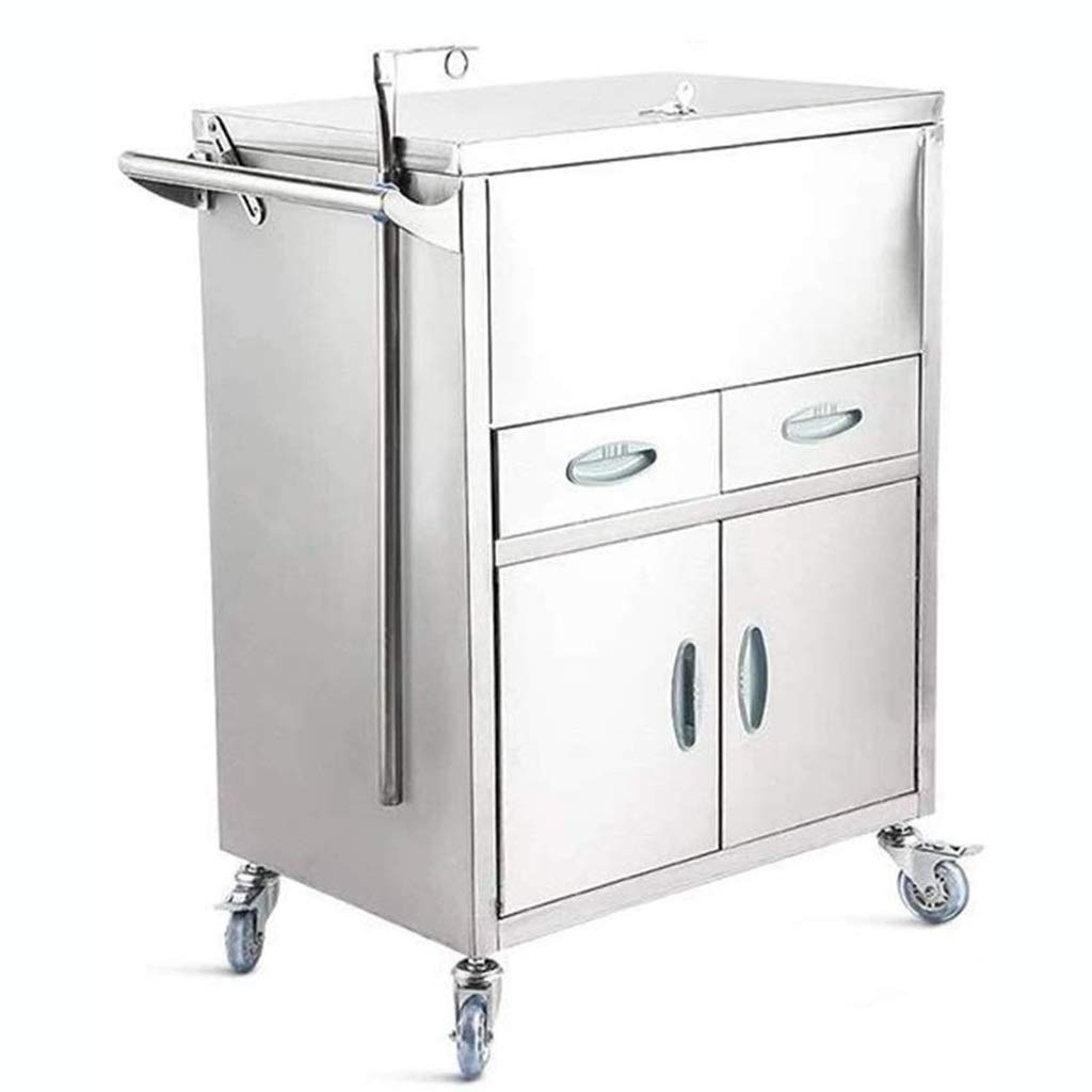 Medical Stainless Steel - Rolling Trolley Medical Equipment Dental Clinic Surgery Hand Emergency Cart Surgical Dressing Changer Instrument Vehicles (Color : A, Size : 65 * 42 * 86cm) by XZHSA