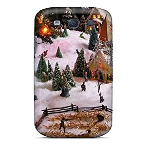 Anti-scratch And Shatterproof Christmas Village View3 Phone Case For Galaxy S3/ High Quality Tpu Case