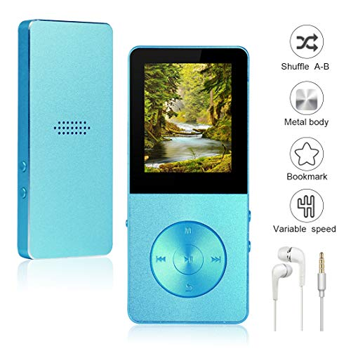 Mp3/Mp4 Player Widon 8GB Mp3 Music Player Built-in Speaker HiFi Shuffle A-B Playback Bookmark Variable Speed for Audio Books Metal Body FM Radio Voice Recorder Gift for Kids Language Learning Blue4