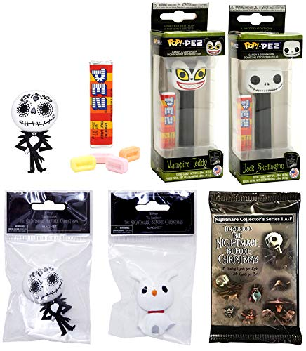 (Sugar NBX Nightmare Jack Before Christmas Figure Head Pop Pez Bundled with Vampire Character Dispenser Pack Collectible + Zero Ghost & Skelligton 3D Magnets Ghost Dog+ Movie Trading Cards 5 Item Set)