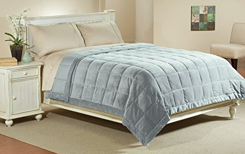 Aeolus Down Luxlen Microfiber Blanket in Quarry Reversible Soft Plush to Satin Cool, King/Califonia King