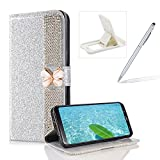 Diamond Wallet Leather Case for Samsung Galaxy Note 8,Flip Cover for Samsung Galaxy Note 8,Herzzer Premium Luxury Butterfly Buckle Magnetic Closure Glitter Stand Case with Inner Soft Rubber Protective Case