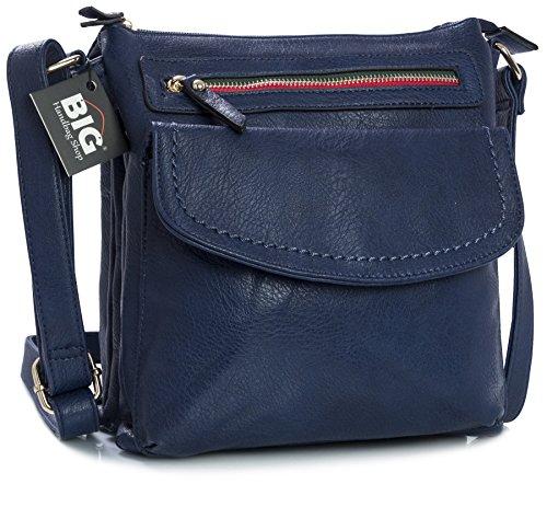 BHBS Bolso de Dama para Cruzar en Imitación Piel 24x25x9 cm (LxAxP) Azul - azul marino