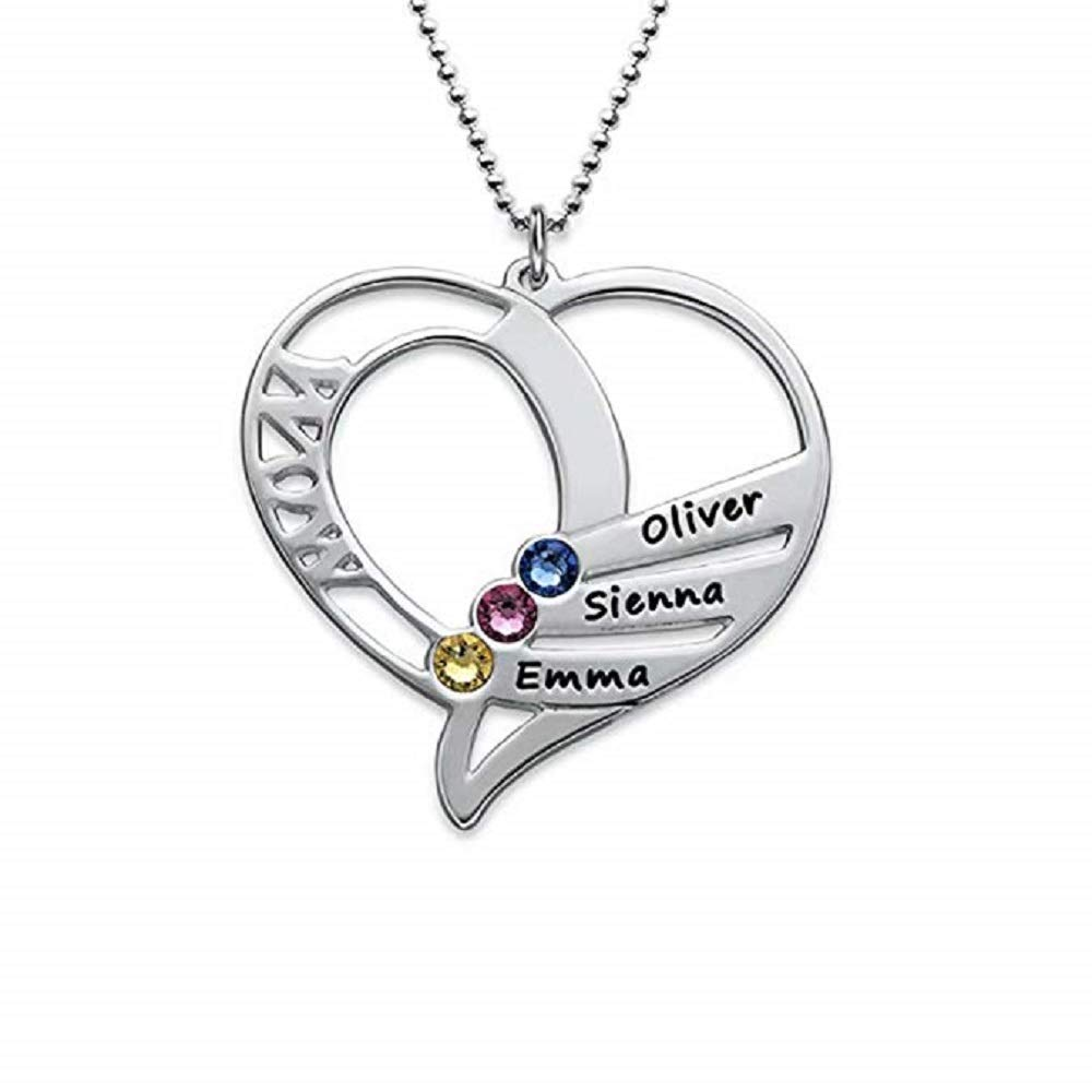 Fashion Pendant Necklace for Women of The Brithstone Love Heart Necklace Jewelry Gifts for Women Girls
