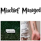 Tattify Mischief Managed Temporary Tattoo - Cover Your Tracks (Set of 2) - Other Styles Available and Fashionable Temporary Tattoos - Tattoos that are Long Lasting and Waterproof