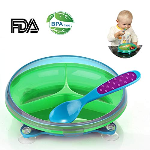 GRyiyi Baby Divided Plate 3 Sections Rotatable Toddler Dish with Suction Cups Base and Spoon
