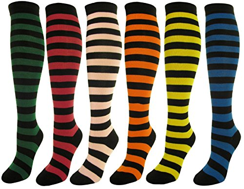 J.Ann 6 Pc / Pk Ladies Black W. Color Stipes Knitted Knee-High Socks Ann Wide Leg