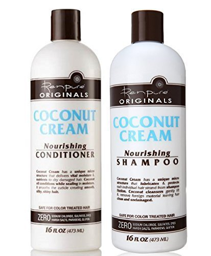 Cream Shampoo (Renpure Coconut Cream Nourishing Shampoo & Conditioner Set, 16 Fluid Ounce Ea)