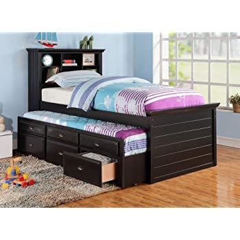 this item black captain twin bookcase bed wtrundle bed and 3 drawers storage