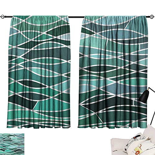 Warm Family Seafoam Light Luxury high-end Curtains Stained Glass Pattern with Wavy Lines and Mosaic Abstract Geometric Composition Suitable for Bedroom Living Room Study, etc.63 Wx45 L Multicolor