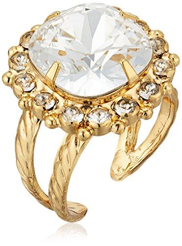 - Sorrelli Core Bright Gold Crystal Cushion-Cut Adjustable Ring