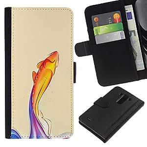 [Neutron-Star] Modelo colorido cuero de la carpeta del tirón del caso cubierta piel Holster Funda protecció Para LG G3 [Rainbow Koi Fish]