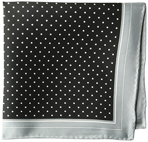 BUTTONED DOWN Men's Classic Silk Hand Rolled Pocket Square, black dot, One Size