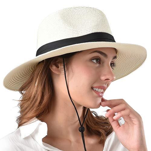 Womens Wide Brim Straw Panama Hat Fedora Summer Beach Sun Hat UPF50 ()