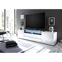 VICENZA Collection - Large TV Cabinet 203 – European design elegant TV console – High Gloss TV stand with LED light (80-inch Width)