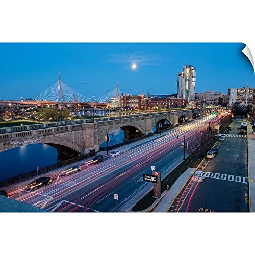 CANVAS ON DEMAND Bunker Hill Bridge and The Boston Skyline at Night Wall Peel Art Print, 48