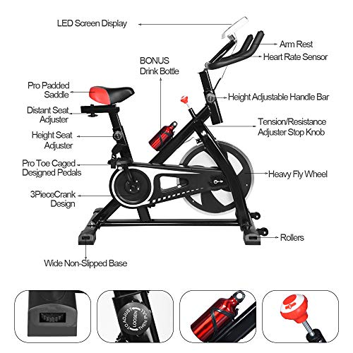 Kybers Indoor Spinning Bicycle Ultra-Quiet Exercise Bike Home Bicycle Fitness Equipment Upright Bike Exerciser Magnetic Stationary Cycle Cardio Aerobic Equipment for Home and Gym Use
