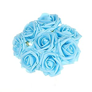 100 PCS Artificial Flowers Dark Orange Roses Real Looking Fake Roses DIY Wedding Bouquets Centerpieces Arrangements Party Baby Shower Home Decorations (Light Blue-100Pcs)