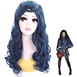Cosplay Wigs for Descendants Evie Blue Mixed Color Long Wavy Curly Braided Bang Party Wigs