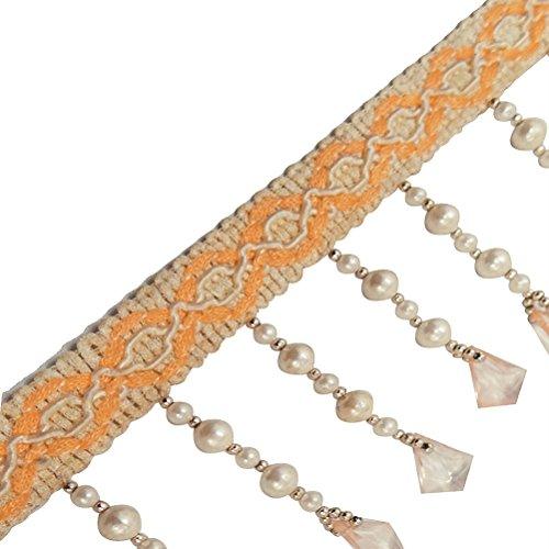 Fringed Trim Handmade White Border Ribbon Acrylic Beads Sewing Border Lace by The Yard